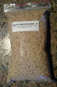 Sesame seeds in a bag